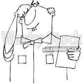 Cartoon of an Outlined Thinking Buck Toothed Man Holding a Paper - Royalty Free Vector Clipart © djart #1187361