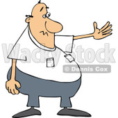 Cartoon of a Chubby White Man Presenting - Royalty Free Vector Clipart © Dennis Cox #1187365