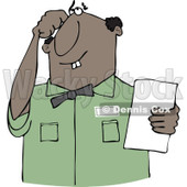 Cartoon of a Thinking Buck Toothed Black Man Holding a Paper - Royalty Free Vector Clipart © Dennis Cox #1187366