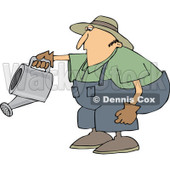 Cartoon of a Chubby White Man Bending over to Water a Garden - Royalty Free Vector Clipart © Dennis Cox #1187368