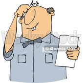 Cartoon of a Thinking Buck Toothed White Man Holding a Paper - Royalty Free Vector Clipart © Dennis Cox #1187369