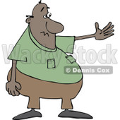 Cartoon of a Chubby Black Man Presenting - Royalty Free Vector Clipart © djart #1187370