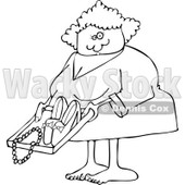 Cartoon of an Outlined Woman Going Through Airport TSA Security - Royalty Free Vector Clipart © djart #1187899