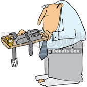Cartoon of a Man Going Through Airport Security TSA - Royalty Free Vector Clipart © djart #1187902