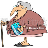 Cartoon of a Senior Woman with a Cane and Her Teeth in a Glass - Royalty Free Clipart © djart #1188352