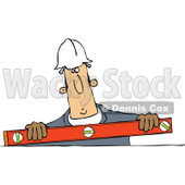 Cartoon of a Construction Worker Holding a Box Beam Level - Royalty Free Vector Clipart © Dennis Cox #1188353