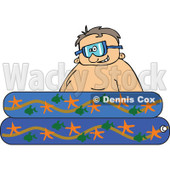 Cartoon of a Happy Boy Wearing Goggles in a Kiddie Pool - Royalty Free Vector Clipart © djart #1189049