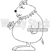 Cartoon of an Outlined Junk Yard Dog Standing Upright with Fisted Paws - Royalty Free Vector Clipart © djart #1189051
