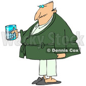 Cartoon of a Senior Man with a Cane and Teeth in a Glass - Royalty Free Clipart © Dennis Cox #1189052