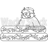 Cartoon of an Outlined Happy Boy Wearing Goggles in a Kiddie Pool - Royalty Free Vector Clipart © djart #1189053