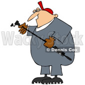 Cartoon of a Worker Man Holding a Gas Valve Changer - Royalty Free Clipart © Dennis Cox #1189845