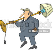 Cartoon of a Mover Man Carrying a Lamp over His Shoulder - Royalty Free Vector Clipart © djart #1190827