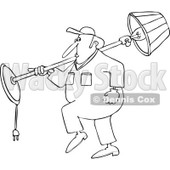 Cartoon of an Outlined Mover Man Carrying a Lamp over His Shoulder - Royalty Free Vector Clipart © djart #1190828