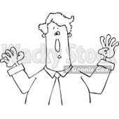 Cartoon of an Outlined Businessman Holding His Arms up - Royalty Free Vector Clipart © djart #1193119