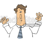 Cartoon of a Caucasian Businessman Holding His Arms up - Royalty Free Vector Clipart © djart #1193120