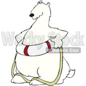 Cartoon of a Poar Bear Wearing a Life Preserver Buoy - Royalty Free Vector Clipart © Dennis Cox #1196163