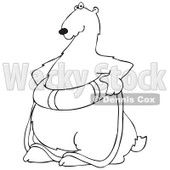 Cartoon of an Outlined Poar Bear Wearing a Life Preserver Buoy - Royalty Free Vector Clipart © Dennis Cox #1196164