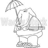 Cartoon of an Outlined Elephant in a Bikini, Holding an Umbrella - Royalty Free Vector Clipart © djart #1197913