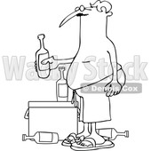 Cartoon of an Outlined Man in Swim Trunks, Holding a Beer over a Cooler - Royalty Free Vector Clipart © djart #1197916