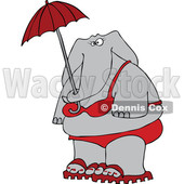 Cartoon of an Elephant in a Red Bikini, Holding an Umbrella - Royalty Free Vector Clipart © djart #1197917