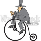 Cartoon of a Man Wearing a Top Hat and Riding a Penny Farthing Bicycle - Royalty Free Vector Clipart © djart #1197986