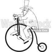 Cartoon of an Outlined Man Wearing a Top Hat and Riding a Penny Farthing Bicycle - Royalty Free Vector Clipart © djart #1197987