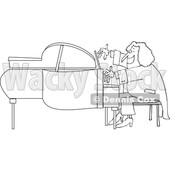 Cartoon of an Outlined Classical Music Composer Playing a Piano - Royalty Free Vector Clipart © Dennis Cox #1197988