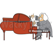 Cartoon of a Classical Music Composer Smiling and Playing a Piano - Royalty Free Vector Clipart © djart #1197990