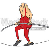 Cartoon of a Daredevil Man Tight Rope Walking - Royalty Free Vector Clipart © djart #1199020