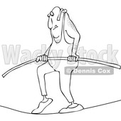 Cartoon of an Outlined Daredevil Man Tight Rope Walking - Royalty Free Vector Clipart © djart #1199021