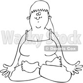 Cartoon of an Outlined Relaxed Woman Doing Yoga with Folded Legs - Royalty Free Vector Clipart © djart #1199636