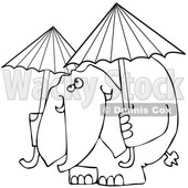 Cartoon of an Outlined Elephant with Two Umbrellas - Royalty Free Vector Clipart © djart #1199638