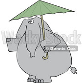 Cartoon of an Elephant with a Green Umbrella - Royalty Free Vector Clipart © djart #1199639