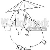 Cartoon of an Outlined Elephant with an Umbrella - Royalty Free Vector Clipart © djart #1199640
