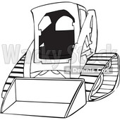Cartoon of an Outlined Bobcat Skid Steer Loader - Royalty Free Vector Clipart © djart #1199893