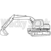 Cartoon of an Outlined Trackhoe Excavator - Royalty Free Vector Clipart © djart #1199894