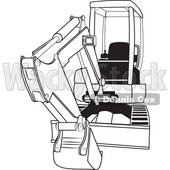 Cartoon of an Outlined Mini Excavator - Royalty Free Vector Clipart © djart #1199896