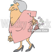 Cartoon of an Uncomfortable Old Lady Passing Gas - Royalty Free Vector Clipart © djart #1199897