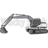 Cartoon of a Gray Trackhoe Excavator - Royalty Free Vector Clipart © djart #1199898