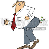 Cartoon of a Caucasian Businessman Pushing to Break Wind - Royalty Free Vector Clipart © djart #1199899