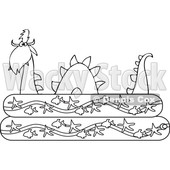 Clipart of an Outlined Loch Ness Monster Plesiosaur Dinosaur in a Kiddie Swimming Pool - Royalty Free Vector Illustration © Dennis Cox #1200767