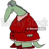 Clipart of a Female Dinosaur in Curlers and a Robe - Royalty Free Vector Illustration © djart #1200768
