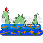 Clipart of a Loch Ness Monster Plesiosaur Dinosaur in a Kiddie Swimming Pool - Royalty Free Vector Illustration © djart #1200770