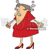 Cartoon of an Angry Woman Steaming Mad and Clenching Her Fists - Royalty Free Vector Clipart © djart #1200776