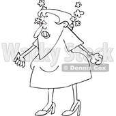 Cartoon of an Outlined Angry Woman Steaming Mad and Clenching Her Fists - Royalty Free Vector Clipart © djart #1200777