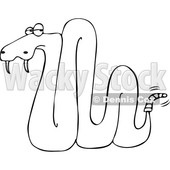Cartoon of an Outlined Rattlesnake - Royalty Free Vector Clipart © djart #1201293