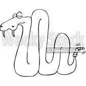 Cartoon of an Outlined Sleeping Rattlesnake - Royalty Free Vector Clipart © Dennis Cox #1201294