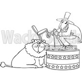 Cartoon of an Outlined Circus Tamer Holding a Chair and Whip over a Lion - Royalty Free Vector Clipart © djart #1201665