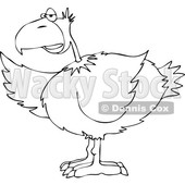 Cartoon of an Outlined Bird Pointing with a Wing - Royalty Free Vector Clipart © djart #1201668