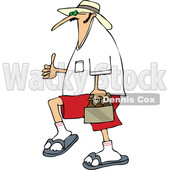 Cartoon of a Caucasian Man Carrying Beer and Holding a Thumb up - Royalty Free Vector Clipart © djart #1201669
